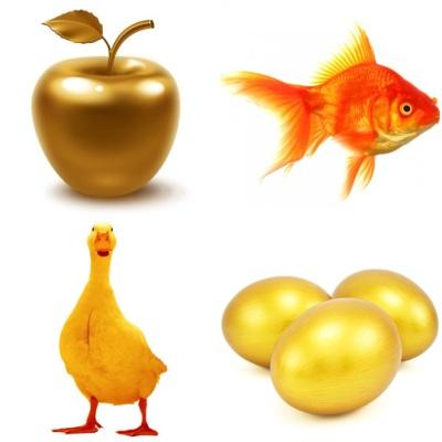 Золотые: яйца, яблоко, гусь, рыбка
